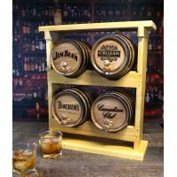 Bar Top Barrel Aged Cocktail Set with 4 inscribed barrels and a two Stacker
