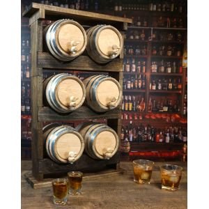Bar Top Barrel Aged Cocktail Set with 6 inscribed barrels and a two Stacker™